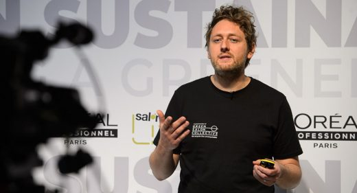 Fry Taylor from The Green Salon Collective on stage at Creative HEAD Magazine's Salon Smart Live 2021