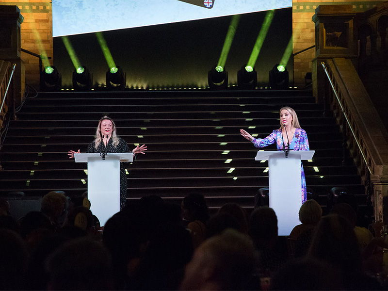 Co-hosts Amanda Nottage and Katherine Ryan